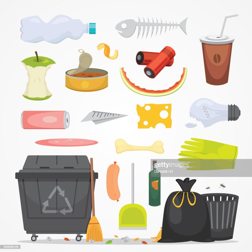 Trash and garbage set illustrations in cartoon style. Biodegradable, plastic and dumpster icons.