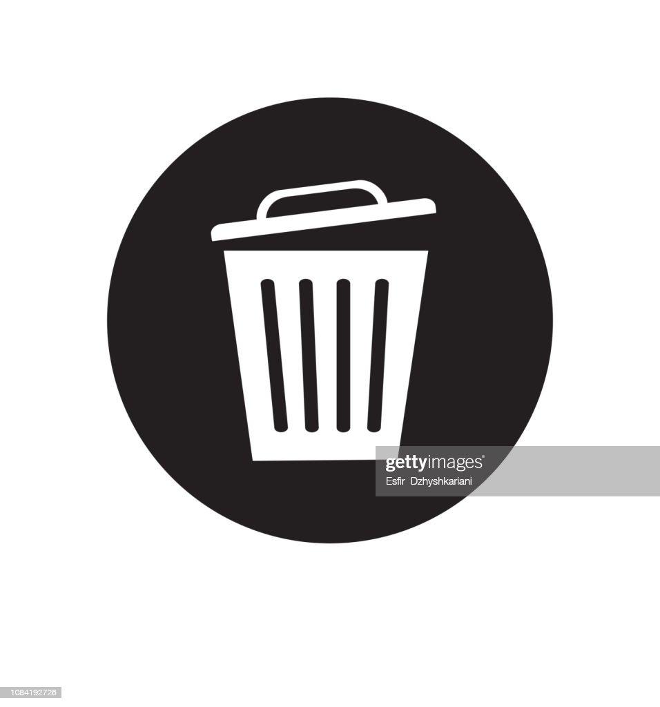 Trash basket icon symbol delete vector illustration isolated on white