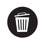 Trash basket icon symbol delete vector illustration isolated on white