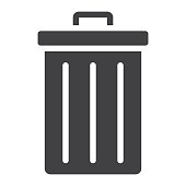 Trash bin glyph icon, web and mobile, delete sign vector graphics, a solid pattern on a white background, eps 10.