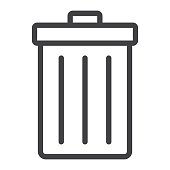 Trash bin line icon, web and mobile, delete sign vector graphics, a linear pattern on a white background, eps 10.