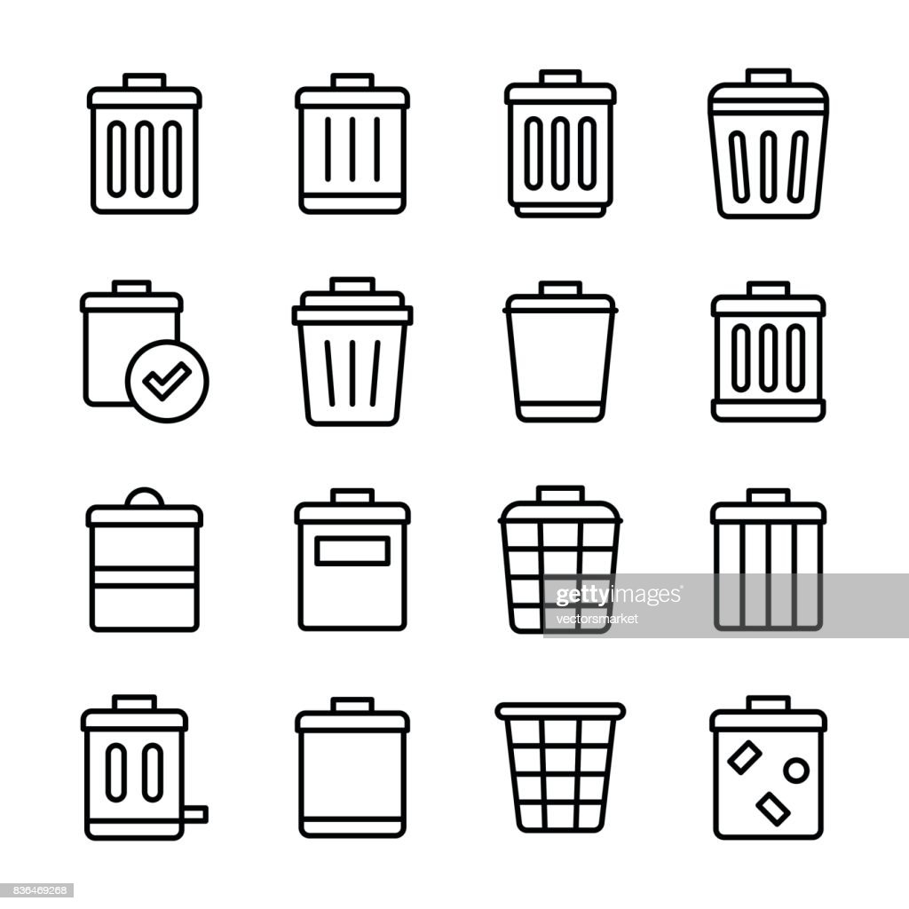 Trash Bin Line Vector Icons Set