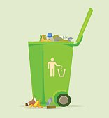 Trash can basket dustbin isolated icon