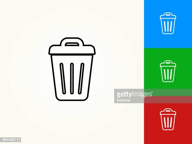 illustrations, cliparts, dessins animés et icônes de poubelle noirs avc icône linéaire - poubelle