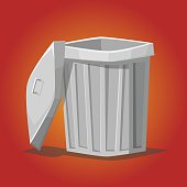Trash can cartoon vector illustration