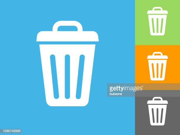 trash can flat icon on blue background - garbage bin stock illustrations