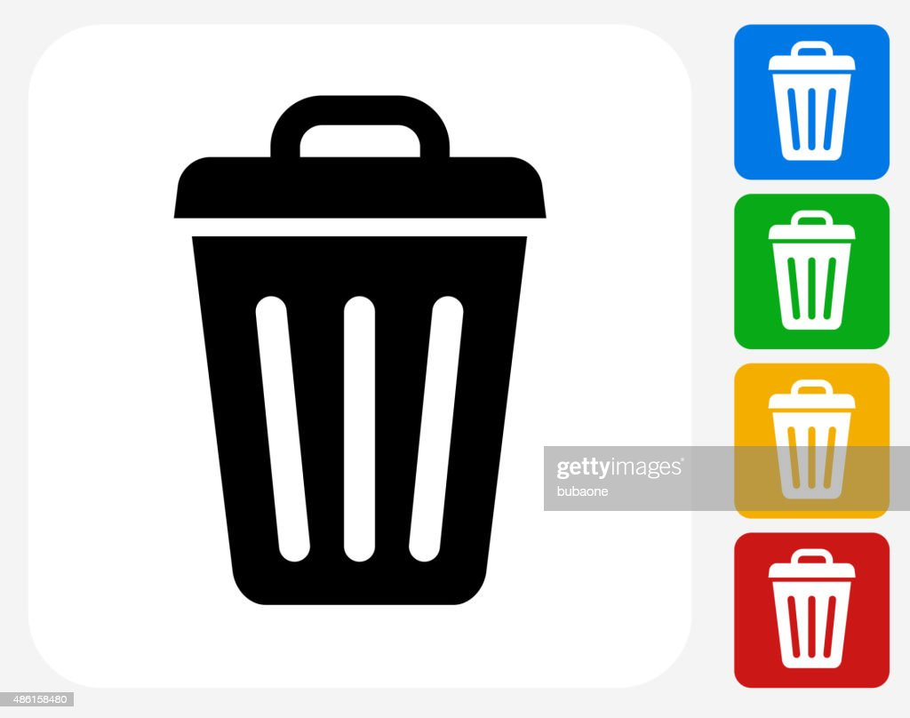 Trash Can Icon Flat Graphic Design : stock vector