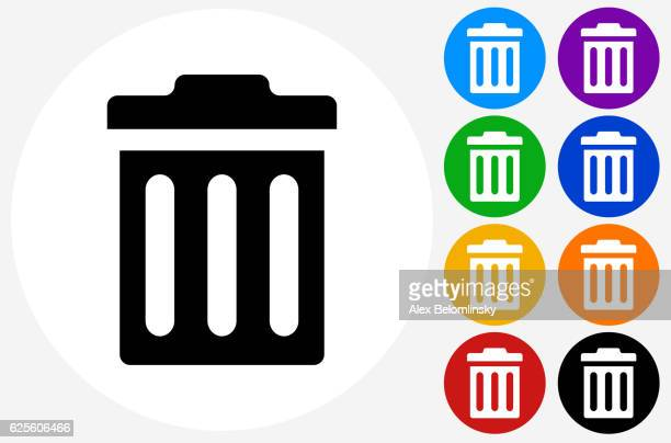 trash can icon on flat color circle buttons - wastepaper basket stock illustrations, clip art, cartoons, & icons