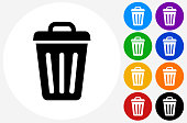 Trash Can Icon on Flat Color Circle Buttons