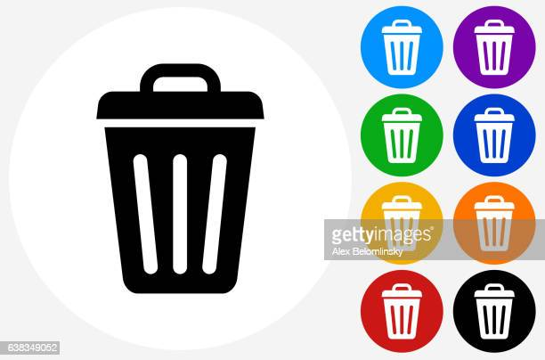 trash can icon on flat color circle buttons - garbage bin stock illustrations