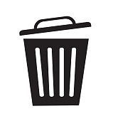 Trash can icon symbol delete vector flat  illustration isolated on white
