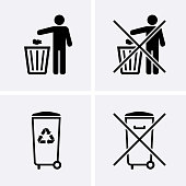 Trash Can Icons. Bin Icons. Do Not Litter. Waste Recycling.