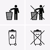 Trash Can Icons. Waste Recycling. Do Not Litter.