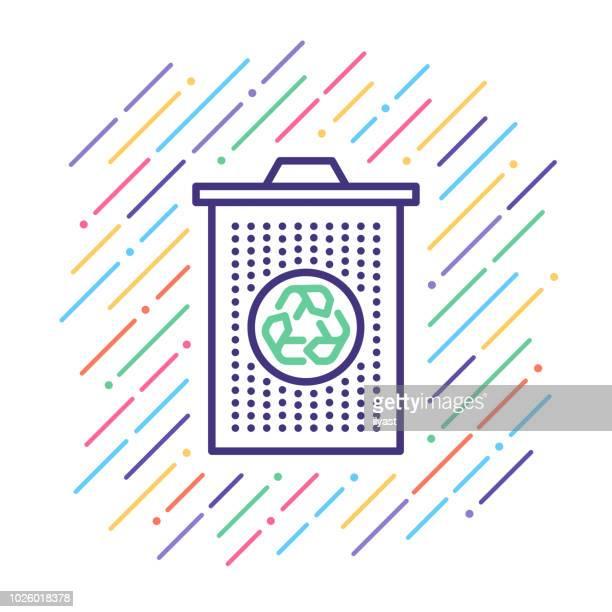 ilustraciones, imágenes clip art, dibujos animados e iconos de stock de poner verde icono de can line - tirar basura