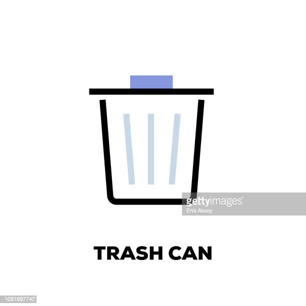 trash can line icon - refusing stock illustrations, clip art, cartoons, & icons