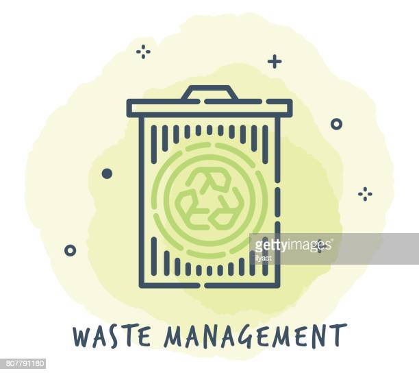trash can line icon - wastepaper basket stock illustrations, clip art, cartoons, & icons