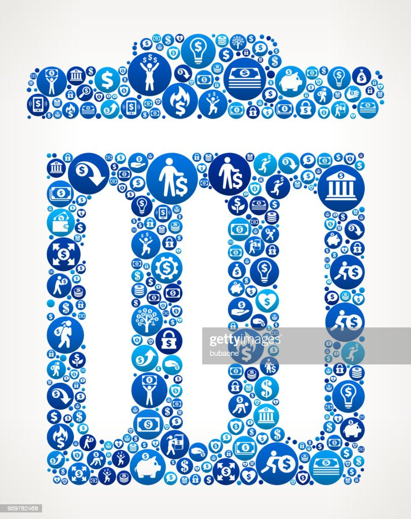 Müll kann Geld blaues Symbol Muster Hintergrund : Stock-Illustration