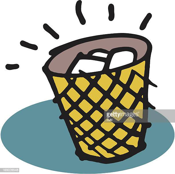 trash can - wastepaper basket stock illustrations, clip art, cartoons, & icons