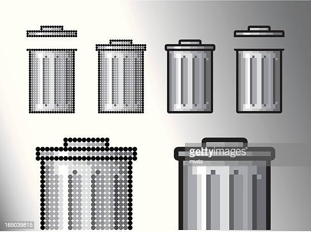 trash can (vector) - wastepaper basket stock illustrations, clip art, cartoons, & icons