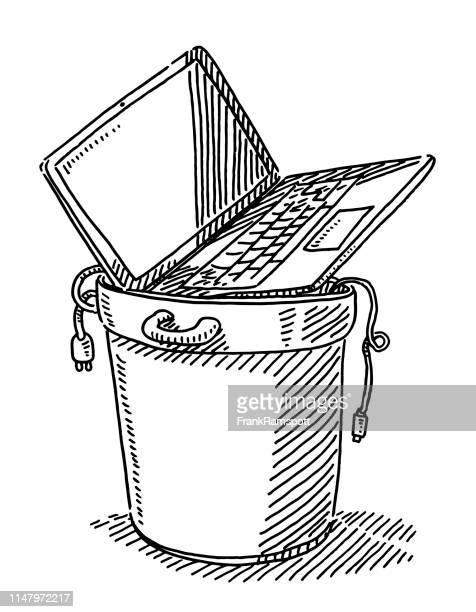 Mülltonne mit altem Laptop-Computer und Zeichnung von Kabel