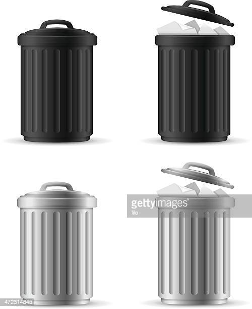 trash cans - garbage can stock illustrations