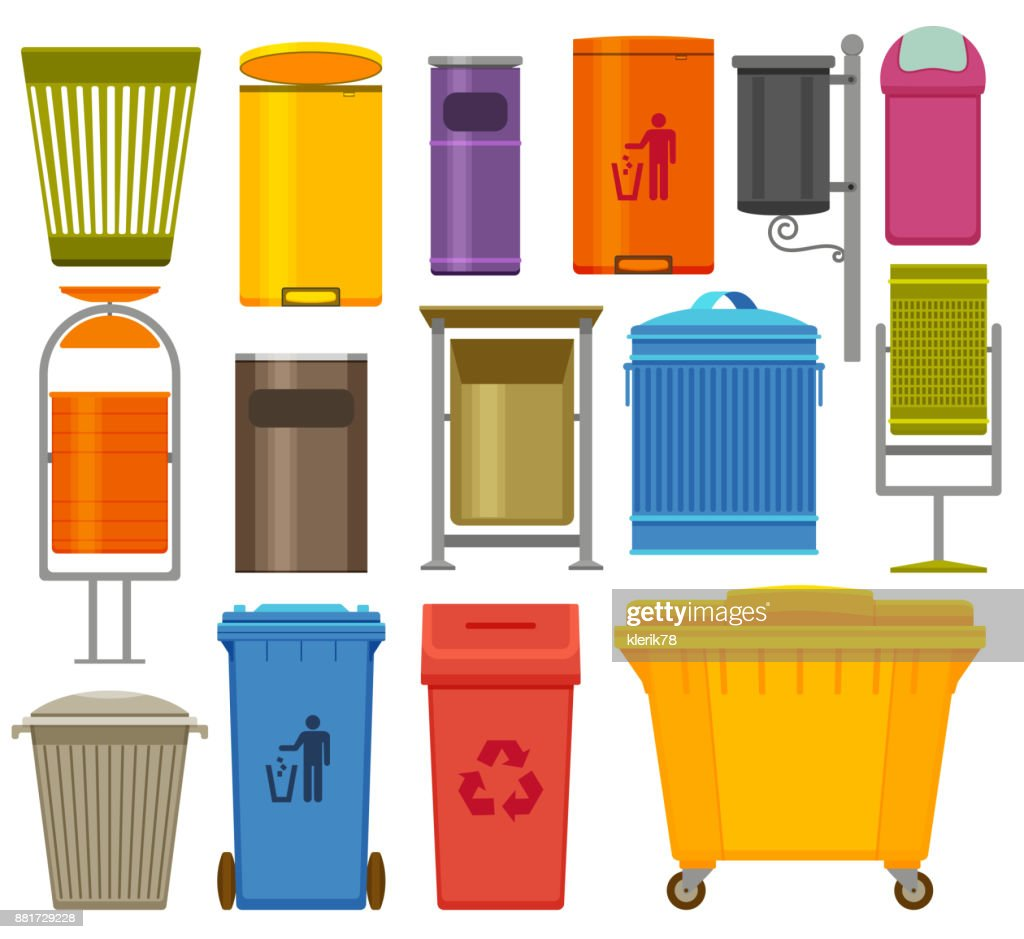 Trash containers colorful icons set