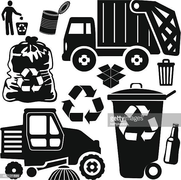 trash day - street sweeper stock illustrations