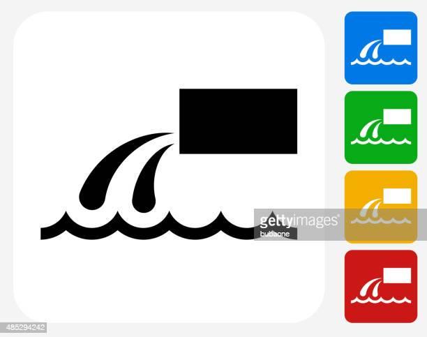 Poner verde icono de descarga planos de diseño gráfico