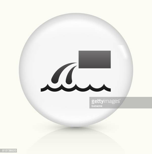 trash dump icon on white round vector button - water treatment stock illustrations, clip art, cartoons, & icons