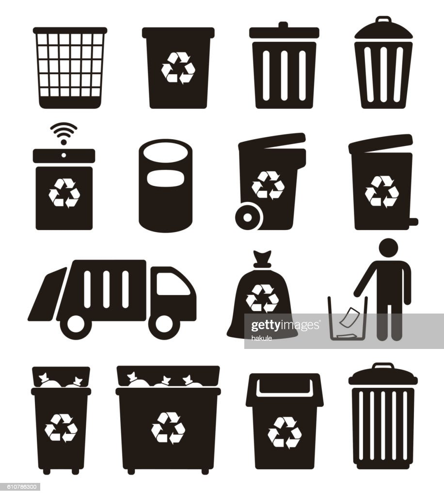 Trash garbage and recycling can icons vector illustration vector art trash garbage and recycling can icons vector illustration vector art buycottarizona Image collections