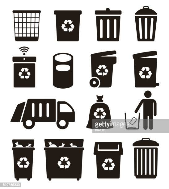 trash, garbage and recycling can icons, vector illustration - garbage bin stock illustrations