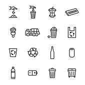 Trash Garbage Related Signs Black Thin Line Icon Set. Vector