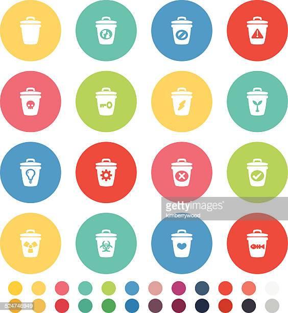 ilustraciones, imágenes clip art, dibujos animados e iconos de stock de poner verde icono set - tirar basura
