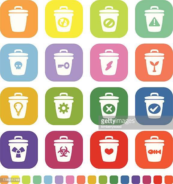 trash icon - wastepaper basket stock illustrations, clip art, cartoons, & icons