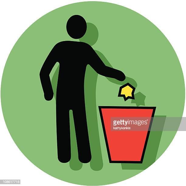 ilustraciones, imágenes clip art, dibujos animados e iconos de stock de poner verde icono de conector hembra - tirar basura