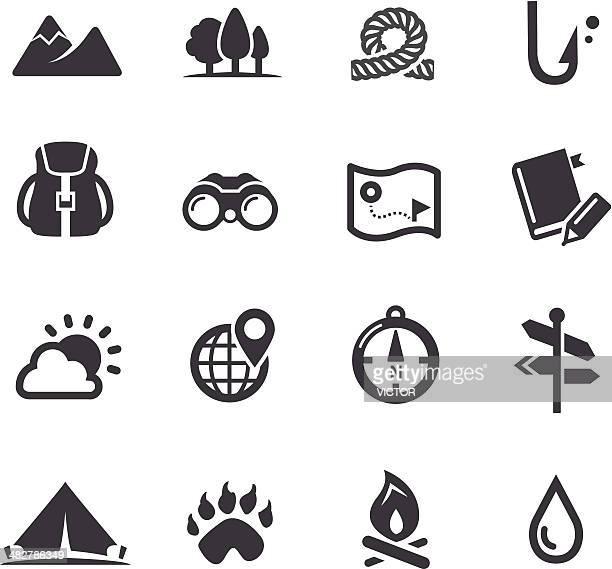ilustraciones, imágenes clip art, dibujos animados e iconos de stock de viaje, aventura y campamento iconos-serie acme - fauna silvestre