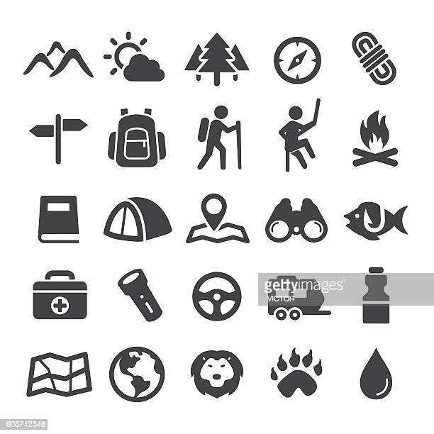 travel, adventure and camping icons - smart series - tent stock illustrations, clip art, cartoons, & icons