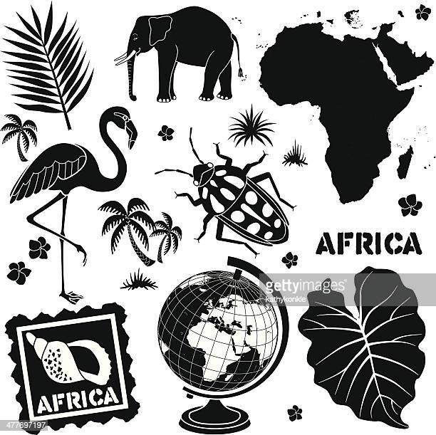 travel africa icon set in black and white - flamingo stock illustrations, clip art, cartoons, & icons