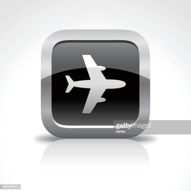 ilustraciones, imágenes clip art, dibujos animados e iconos de stock de viajes avión brillante botón icono - viaje de negocios