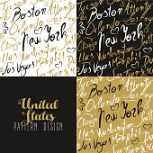 Travel america usa pattern city new york gold
