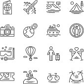 Travel and Activities icon. Leisure and Sport concept. Trip and journey concept. Thin line and Outline icon set. Vector illustration. Sign and symbol collection set.