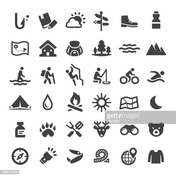travel and adventure icons - big series - tent stock illustrations, clip art, cartoons, & icons