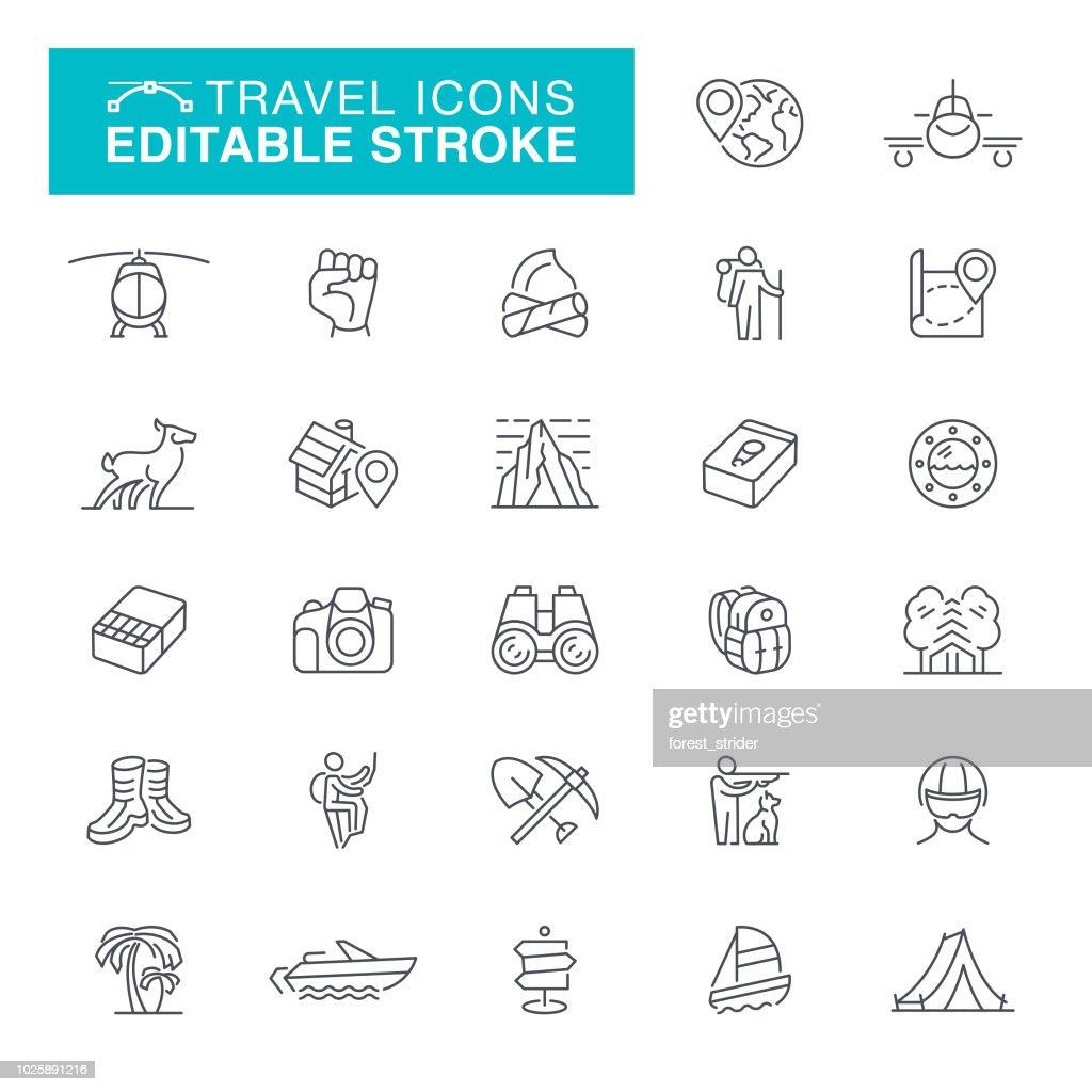 Viajar y acampar línea Editable iconos : Ilustración de stock