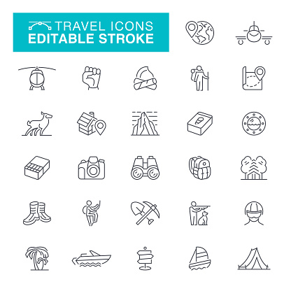 Travel and Camping Editable Line Icons - gettyimageskorea