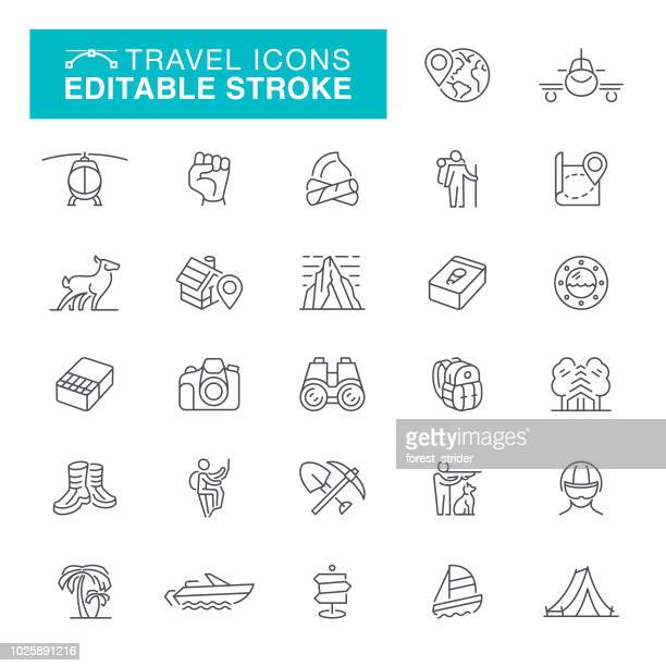 travel and camping editable line icons - recreational pursuit stock illustrations, clip art, cartoons, & icons