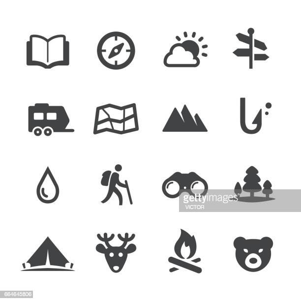 travel and camping icons - acme series - tent stock illustrations, clip art, cartoons, & icons