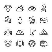Travel and Camping Icons - Line Series