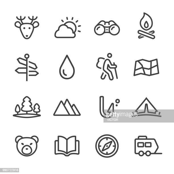 travel and camping icons - line series - natural parkland stock illustrations, clip art, cartoons, & icons