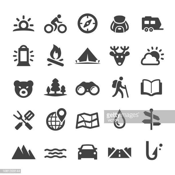 travel and camping icons - smart series - tourist stock illustrations