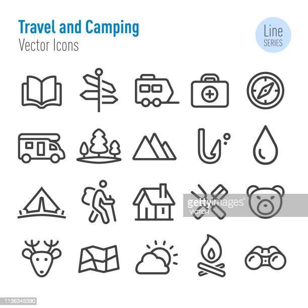 ilustrações, clipart, desenhos animados e ícones de ícones do curso e de acampamento-linha série do vetor - fire natural phenomenon